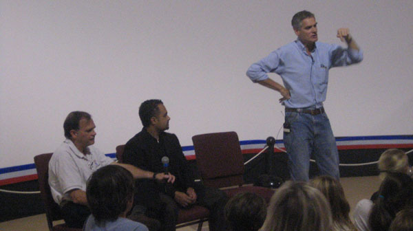 From left to right: Michael Sims, Khalid Al Ali, Chris McKay during Q&A